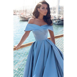US Size 2-26W Solid Color Temperament Off-shoulder Party Dress Fashion Beautiful Delicate Maxi Dress