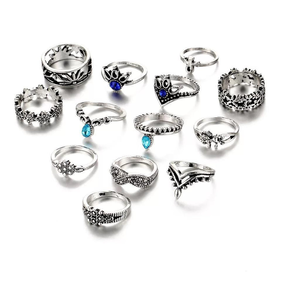 13 Pcs Bohemia Silver Knuckle Flower Leaf Rhinestone Rings Set - Voguetide