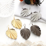 Leaf pattern Pendant Earrings for women exaggerated style simple alloy earrings for Xmas party