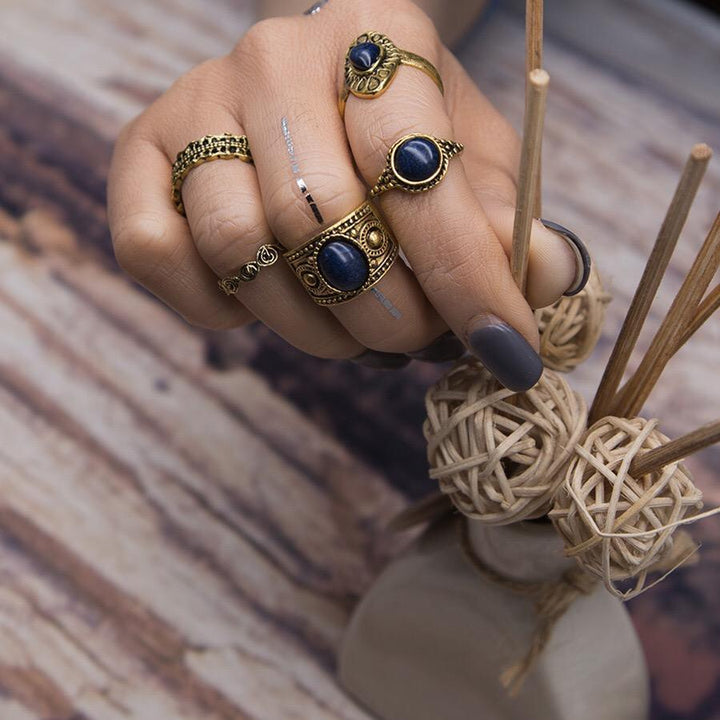 5 pcs BOHO ring set 2 colors statement style bohemia party - Voguetide