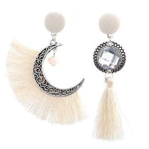 Vintage ethnic Style hollow irregular Lunar Rope tassels set with crystal bohemian earrings