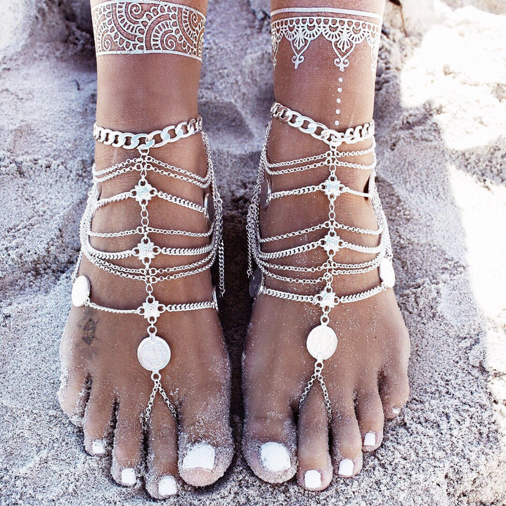 Bohemian punk retro wind metal multi-layer chain tassel coin anklet - Voguetide