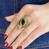 Jewelry Gold color rings with black blue red acrylic and white rhinestone geometric shape wedding rings
