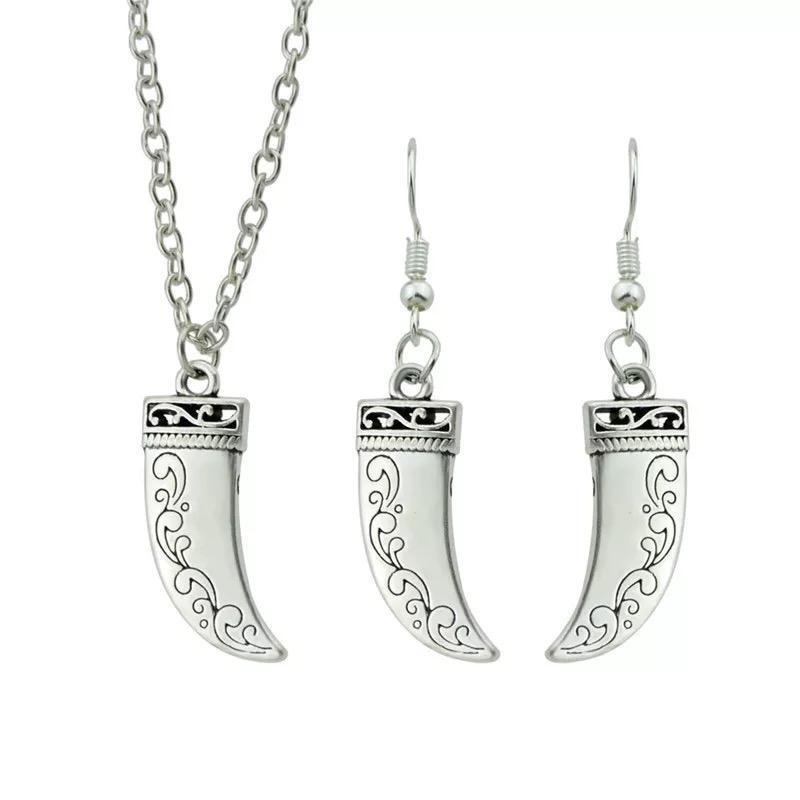 Crescent pendant necklace & Earrings set