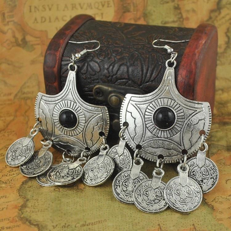 Boho Gypsy Retro Silver Gemstone Pendant Ancient Coin Earrings