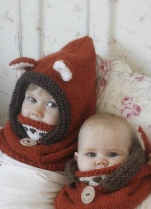 Children Hat Autumn And Winter Cloak Mask Fox Wool Hat Shawl Warm Ear Protectors - Voguetide
