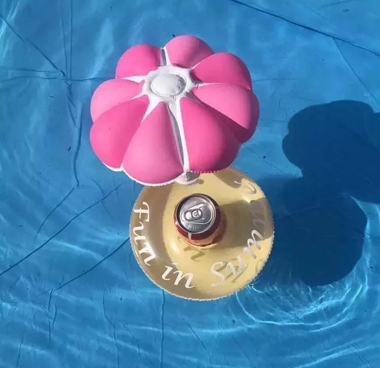 Inflatable Flower Floating Cup Holder Beer Drink Cup Sitting Mobile Phone Seat Swimming Toy - Voguetide