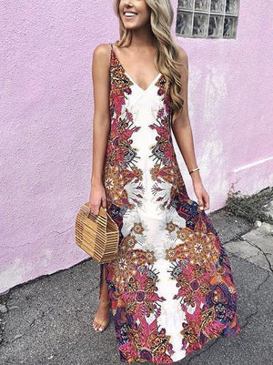 Strap Vest Bohemia Maxi Chiffon Floral Print Dress Beach Style Vacation Dress