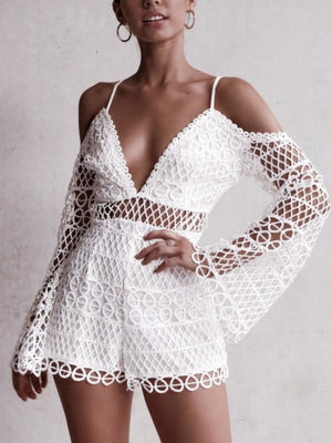 White Sexy Hollow V-neck Strap Lace Vacation Style Romantic Romper