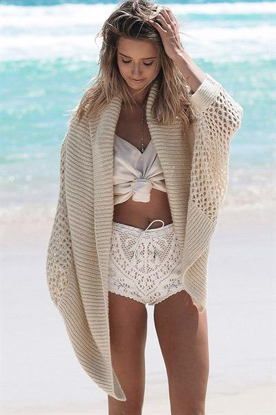 Women Beach Bikini Blouse Holiday Sun Protection Clothing Shawl Cover-up