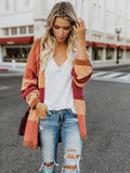 Loose Striped Cardigan Tops