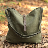 Portable Canvas Ajustable Strap Army Green Handbag Shoulder Bag For Women