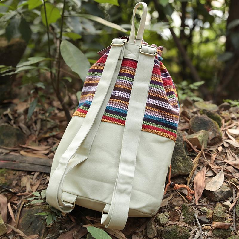 Ethnic Coloful Lacing Splicing Handbag Backpack For Women
