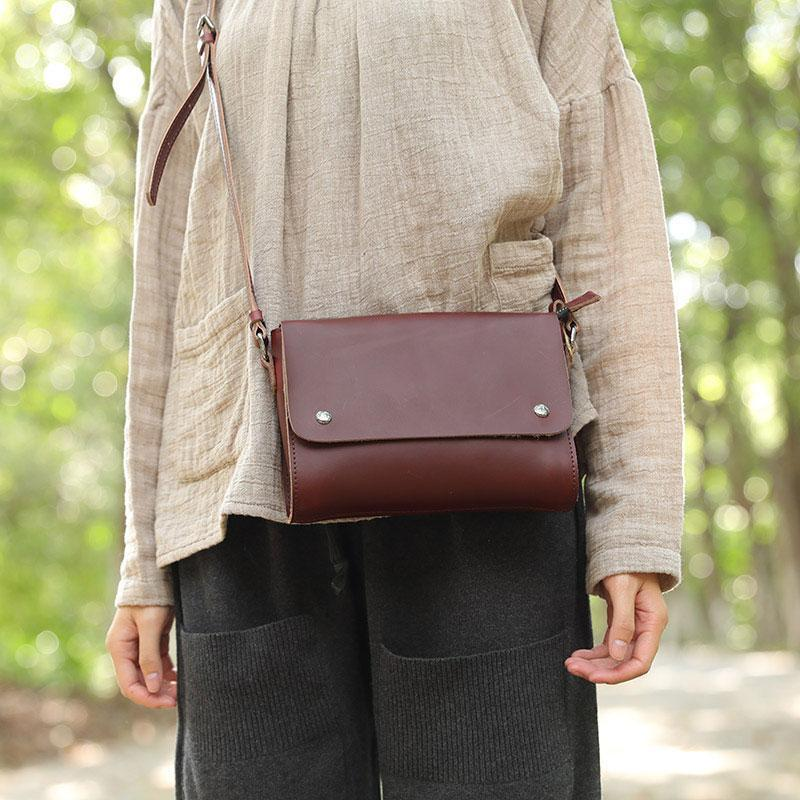 Vintage Cowhide Two Magnetic Buckles Red Brown Shoulder Bag For Women