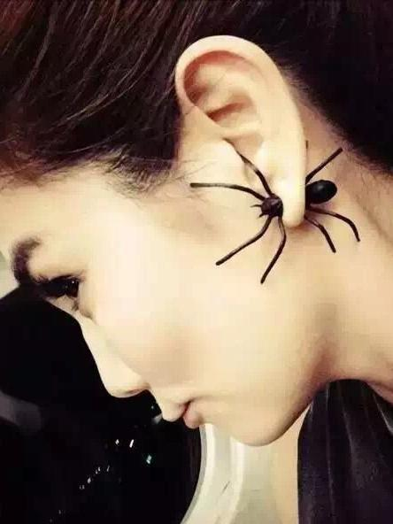 Halloween Decoration 3D Creepy Black Spider Earrings - Voguetide