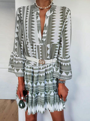 Lapel Long-sleeved Printed Lace-up Shirt Dress