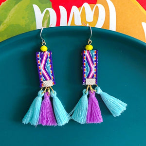 Thai national Bohemian Nepalese Indian holiday tassel hair ball Earrings