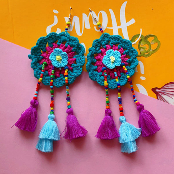 Boho Handmade Colorful Floral Tassels Beaded Crochet Ethnic Earrings - Voguetide