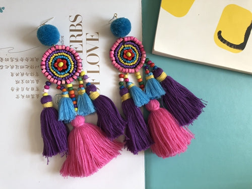 Colorful Bohemian Multi Tassel Beaded Handmade Drop Earrings - Voguetide