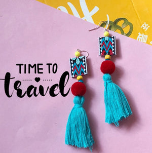 Vacation Thailand Nepal Bohemian Colorful Tassel Earrings