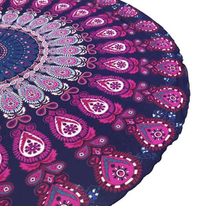 Peacock tail printed fringed beach towel sun shawl Variety scarf yoga cushion Mat