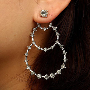 Bohemian Crystal Large Circle Drop Pendant Earrings - Voguetide