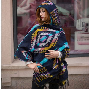 Autumn And Winter Vintage Bohemian National Style Imitation Wool Thickening Warm Hooded Cloak Shawl - Voguetide