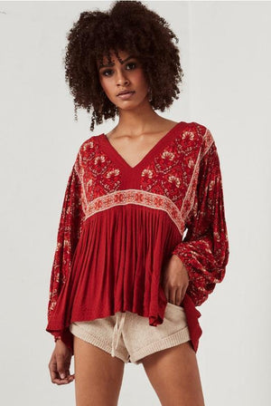 Red Boho Long Sleeve Floral Print V-Neck Bohemian Blouses Tops