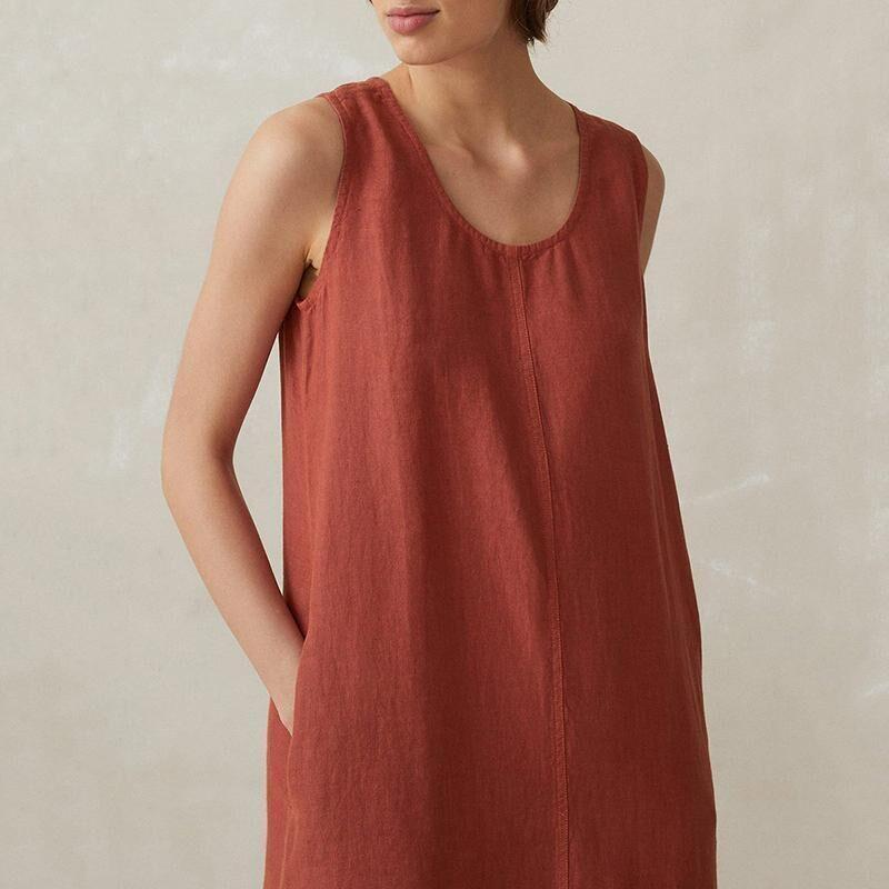 Casual Sleeveless Solidf Color Round Collar Cotton Maxi Dress
