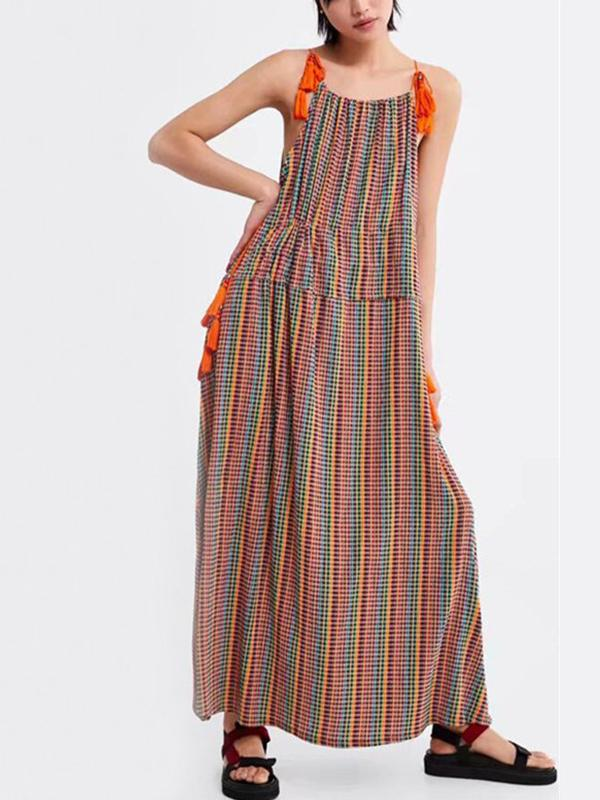 Vintage Plaid Tie Strap Boho Rainbow Tassel Maxi Dress