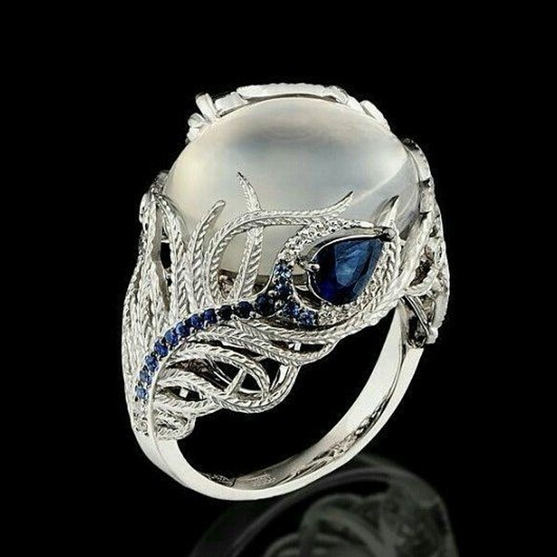 Fashion Blue Crytal Peacock Feather Finger Rings Jewelry