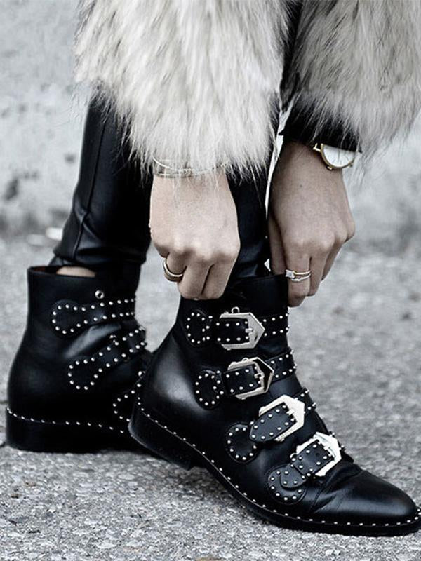 Rivets  Buckle  Motorcycle Thick Heel Black Ankle Boots