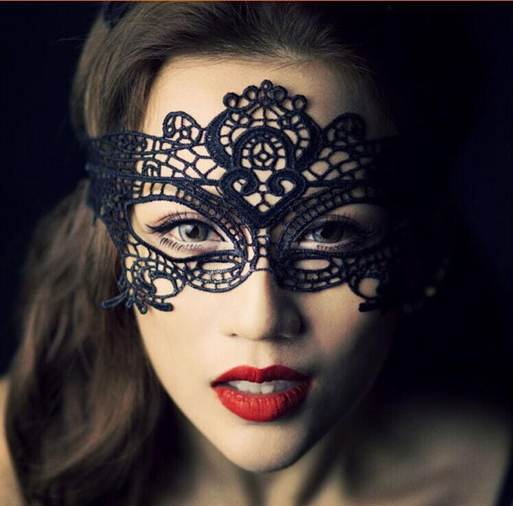 Halloween Sexy Black Cutout Lace Masquerade Party Mask - Voguetide