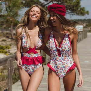 Sexy Floral Ruffles Deep V Neck Push-up One-Piece Swimsuit