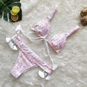 Three Colors Lace Pendant Sexy Ladies Bikini Two-Piece Set