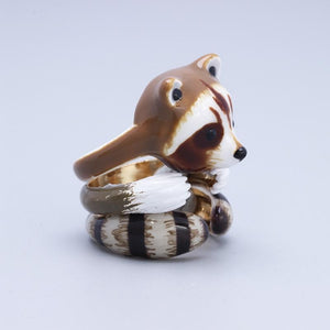 Adorable Raccoon Design 3 Pieces Enamel Rings Sets - Voguetide