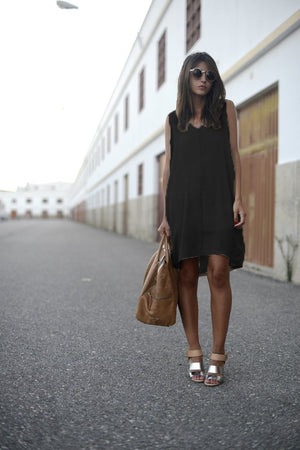 Casual V Neck Sleeveless Irregular Mini Dress