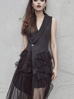 Temperament Black Sleeveless Suit Vest Irregular Mesh Dress