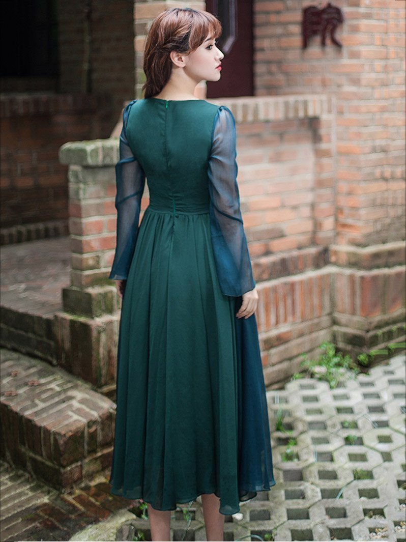 Vintage Solid Color Midi Dress
