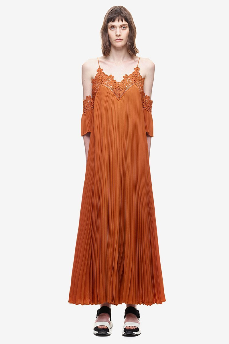 Summer Spaghetti Strap Pleated Cold Shoulder Maxi Dress