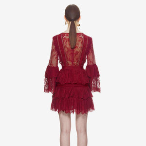 V-neck perspective lace trumpet sleeve dress