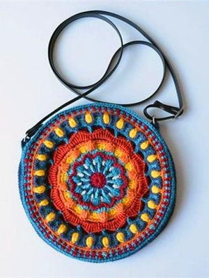 Handmade Hook flower Folk Style Cross Shoulder Bag - Voguetide