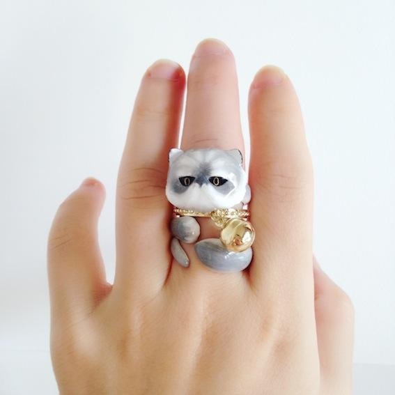 Cute Kitten Design 4 Pieces Enamel Rings Sets - Voguetide