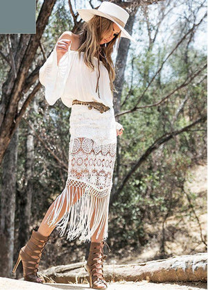 Bohemian Holiday Style Lace Stitching Off-the-shoulder Tassel Dress