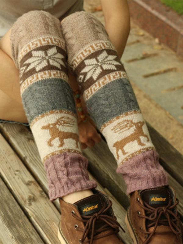 Bohemia Knitting Over Knee-high 4 Colors Leg Warmer Stocking - Voguetide