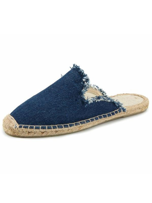 Casual Comfortable Solid Raw Canvas Fisherman Slippers Shoes