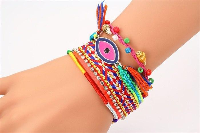 Boho Rainbow Red Multilayers Chain Evil Eye Wrap Wristband Bracelets