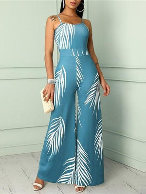 Spaghetti-Strap Floral Jumpsuit Sexy High Waist Jumpsuit