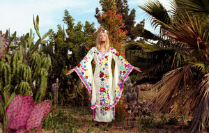Casual Bohemian Butterfly Print White Split Flare Sleeve Maxi Dress