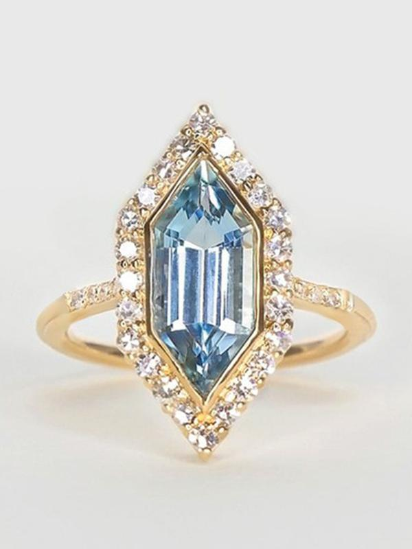 Luxury Blue Crystal Stone Finger Ring Jewelry
